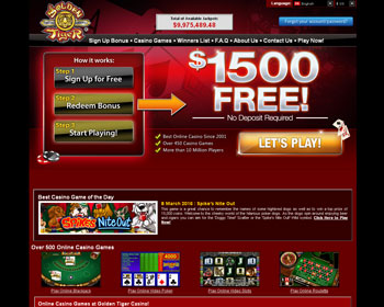 Golden Tiger - $1500 No Deposit Bonus