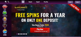 Slots Magic Casino - Get Free Spins for 1 Year!